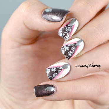 Stamped roses behind a curtain nail art by ssunnysideup (Sabrina)