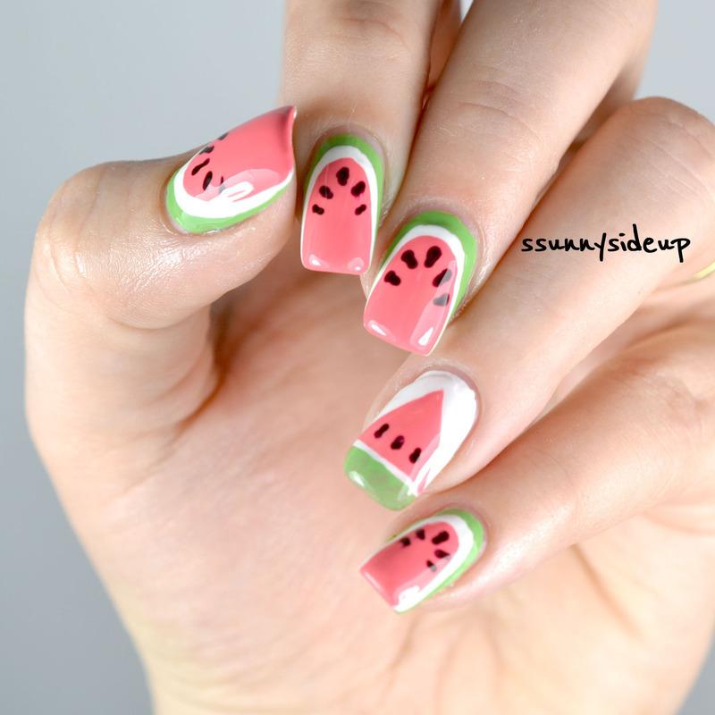 Watermelon nails nail art by ssunnysideup (Sabrina)
