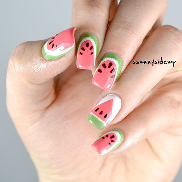 Watermelon nails nail art by ssunnysideup (Sabrina)