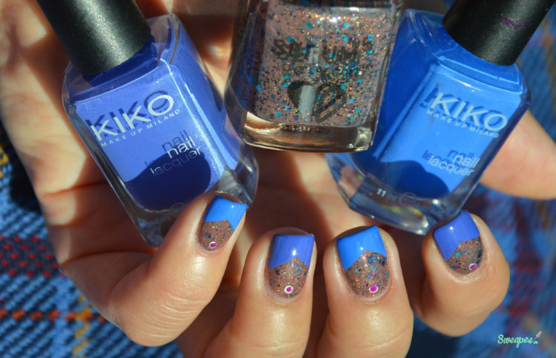 Blue french nail art by Sweapee