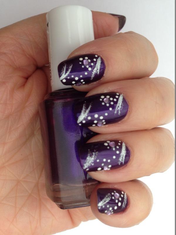 Purple sparkles nail art by Eleadora