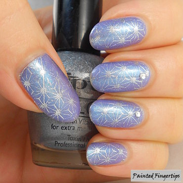 Silver stamping nail art by Kerry_Fingertips