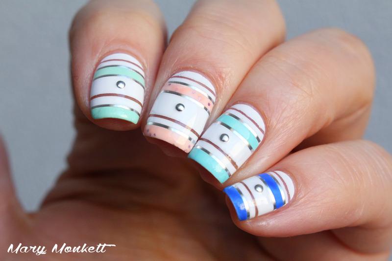 Kit striping tape nail art by Mary Monkett
