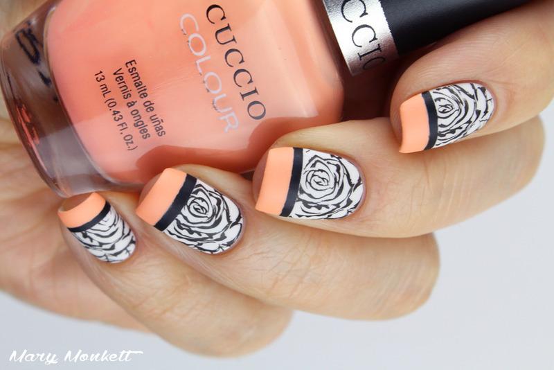 Peach n roses nail art by Mary Monkett