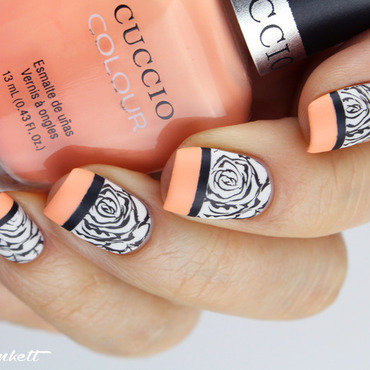 Peach n roses nail art by Mary Monkett