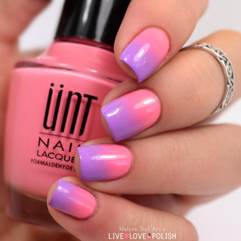 gradient nails pink and purple nail art by melyne nailart