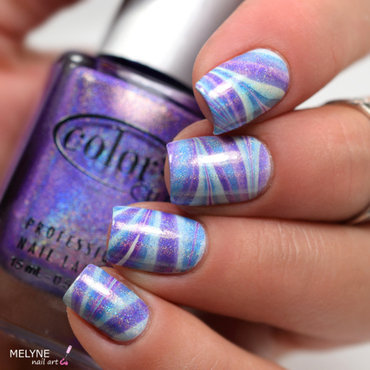 watermarble holo color club nail art by melyne nailart