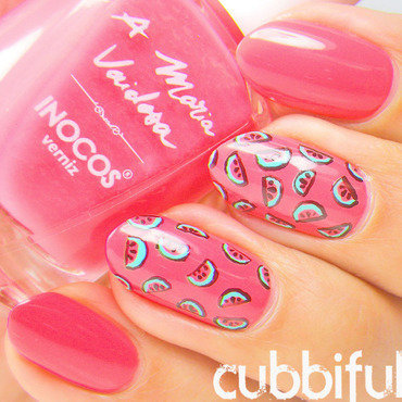 Coral Watermelon Nails nail art by Cubbiful