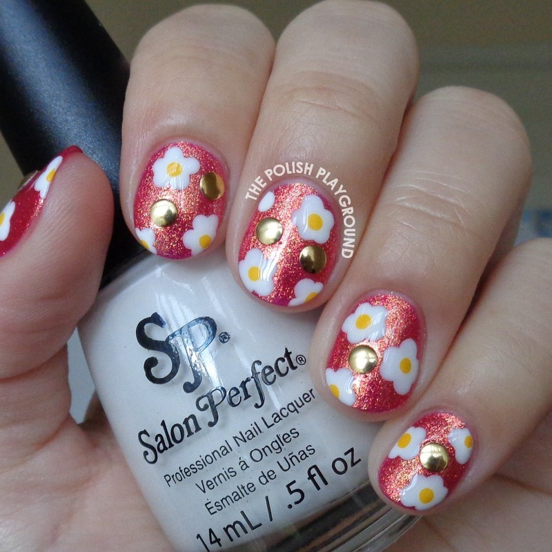 White and Yellow Flowers with Studs nail art by Lisa N