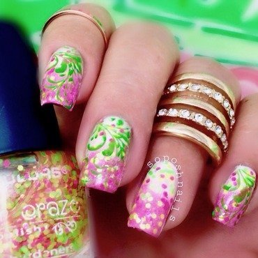 Spring Breeze nail art by Debbie