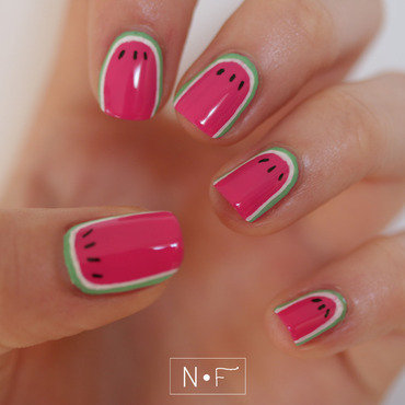 Watermelon ruffian nail art by NerdyFleurty