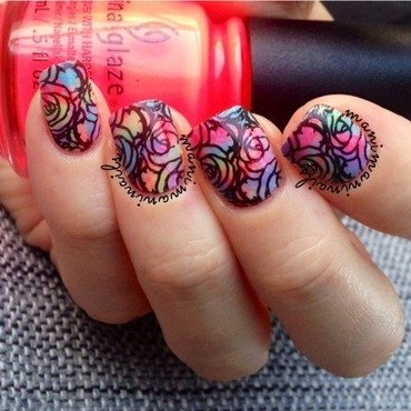 Neon roses nail art by manimaninails