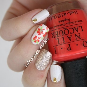 Hawaiian Flowers nail art by katharinapeskelidou