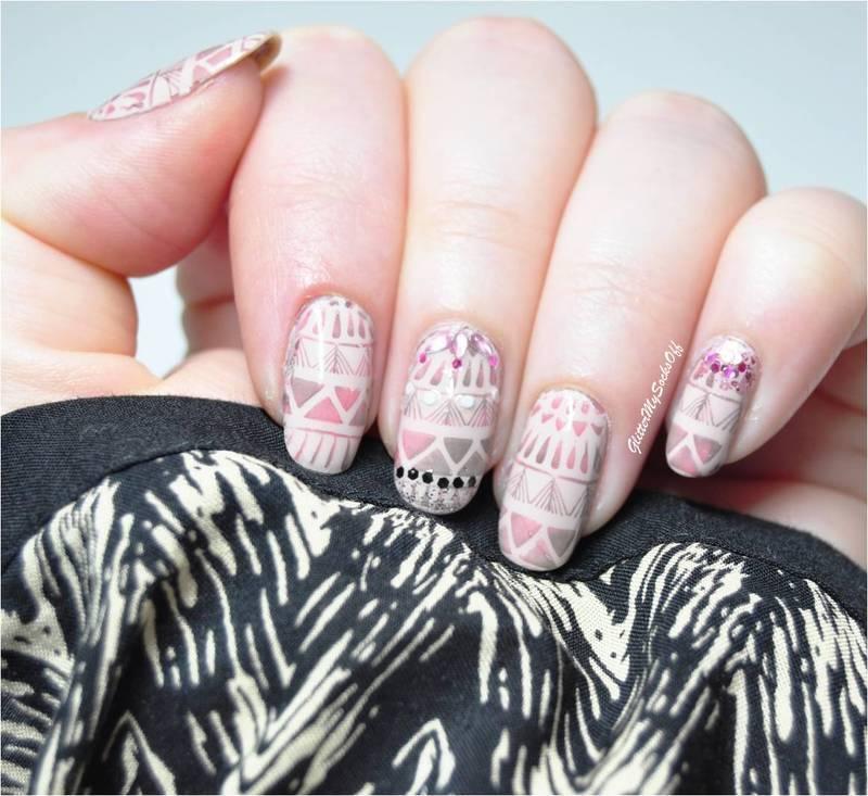Sleepy aztec nail art by GlitterMySocksOff
