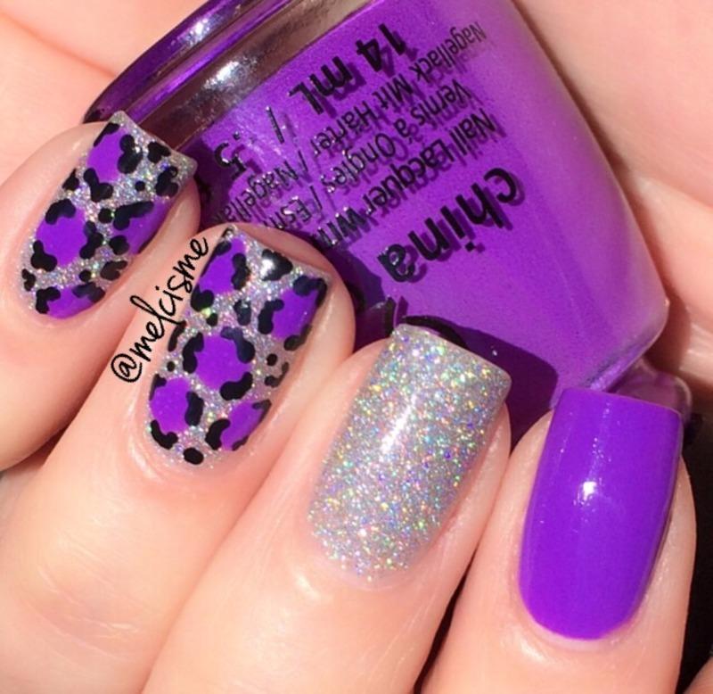 Attractive Bright purple leopard print nail art by Melissa - Nailpolis  SY23