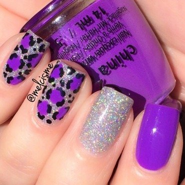 Bright purple leopard print nail art by Melissa