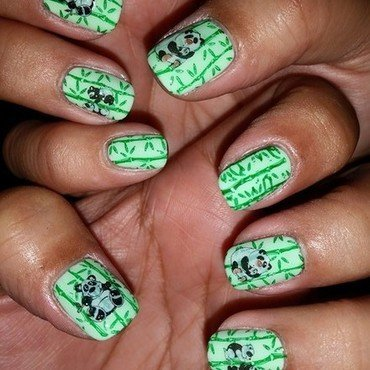 Bamboo Panda Mother's Day Mani nail art by HighTech