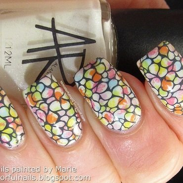 Sponged Spots+Stamped Spring Nail Art nail art by Marie