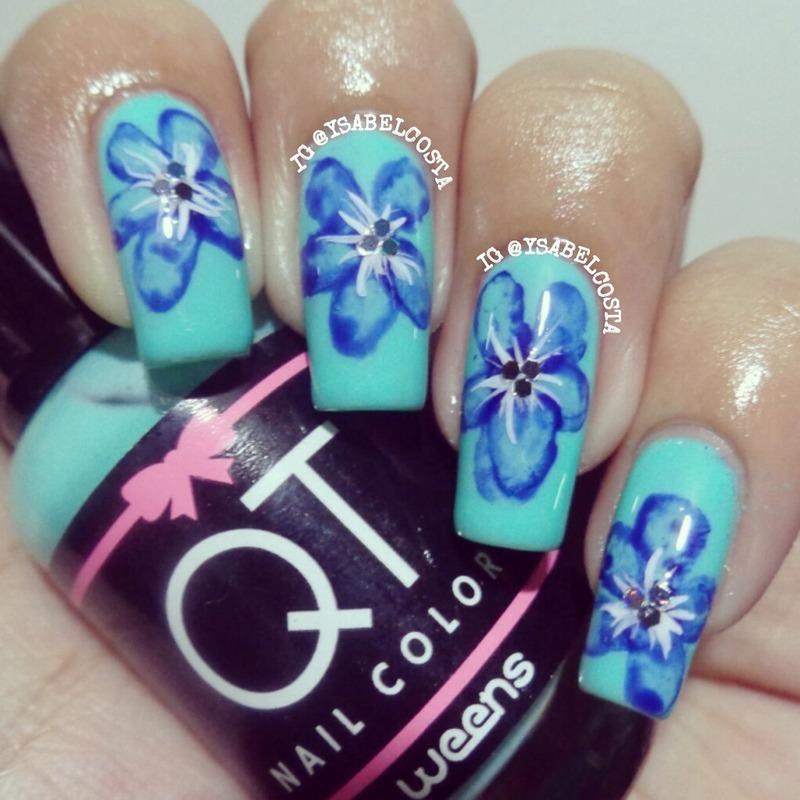 Watercolor flower nail art by Katrina Ysabel Costa