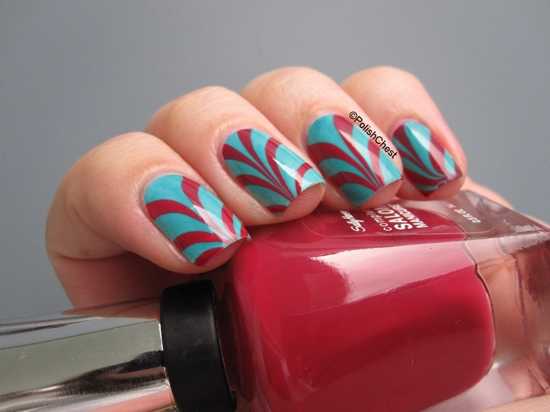 Water Marble nail art by Danny