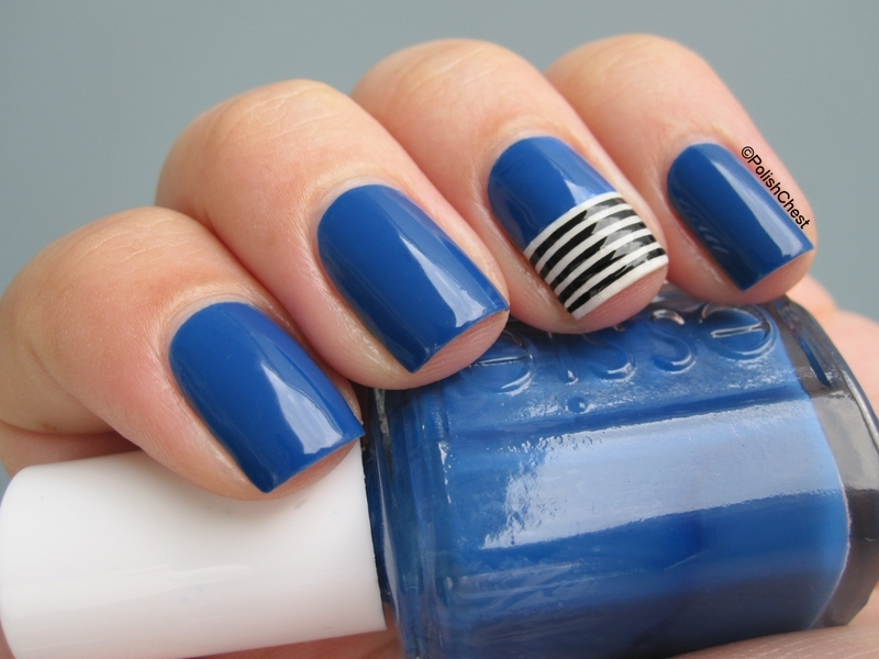 Striping Blue nail art by Danny
