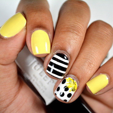 Black and White with Yellow nail art by Fatimah