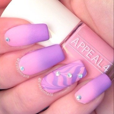 Pink & Purple gradient and water marble  nail art by Virginia