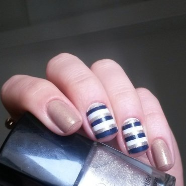 navy & blue stripes nail art by marina