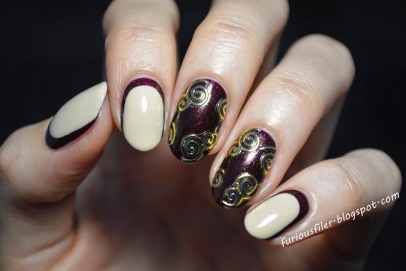Swirls nail art by Furious Filer