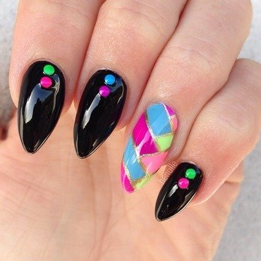 Neon Braided rainbow nails with Studs nail art by Henulle