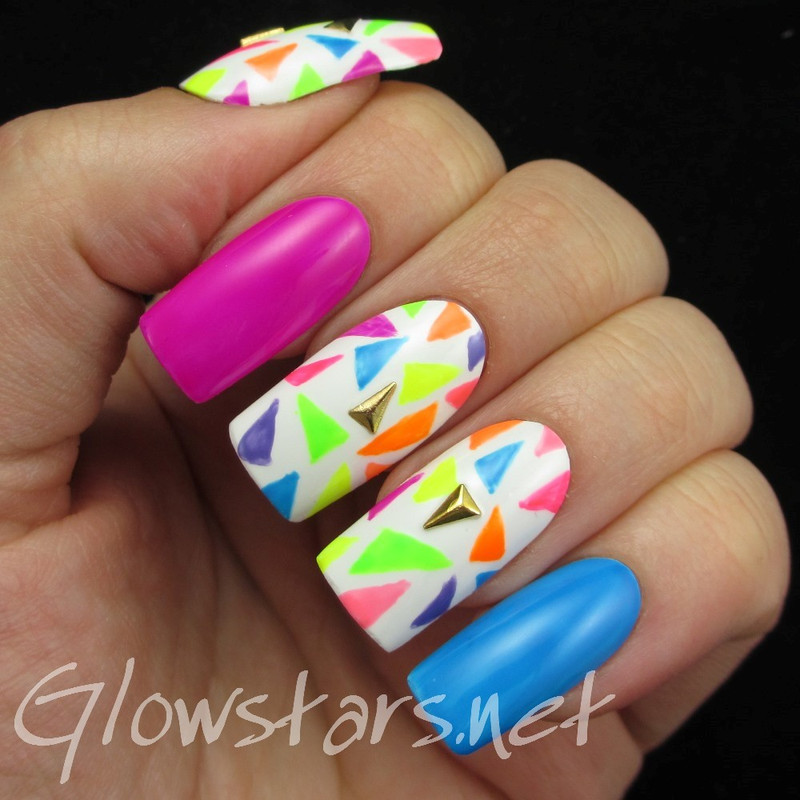 The Digit-al Dozen does geometric: 80s neon nail art by Vic 'Glowstars' Pires