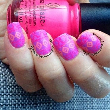 Pink and purple neon nail art by manimaninails