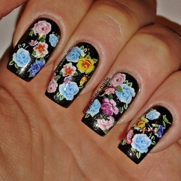 Colorful floral water decals nail art by Ewa