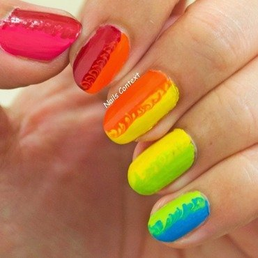 Rainbow Dry Marble nail art by NailsContext
