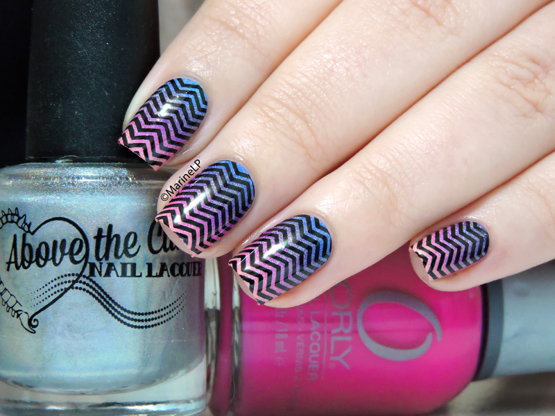 Chevrons over gradient nail art by Marine Loves Polish