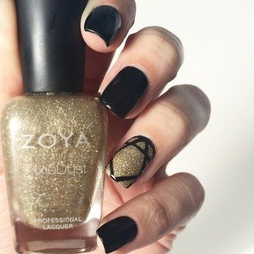 Black and gold geometric accent  nail art by ClumsyPaintsNails