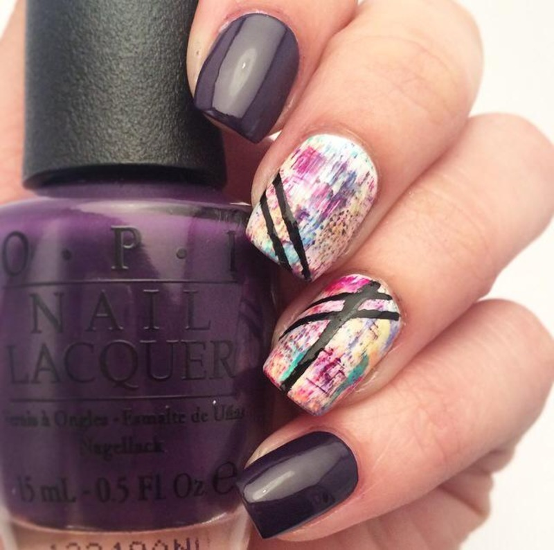 Colorful Distressed Look nail art by ClumsyPaintsNails