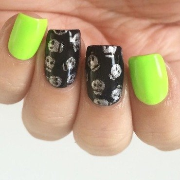 Neon Skull Glam nail art by ClumsyPaintsNails