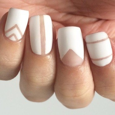 White Negative Space Mix and Match nail art by ClumsyPaintsNails
