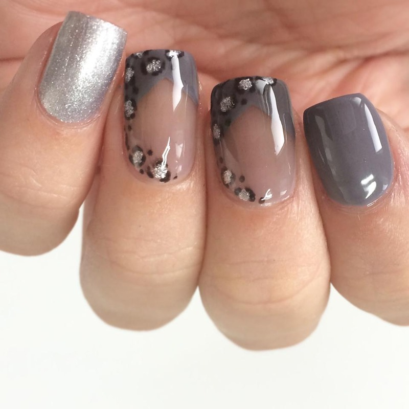 Grey and Silver Negative Space Leopard Print  nail art by ClumsyPaintsNails