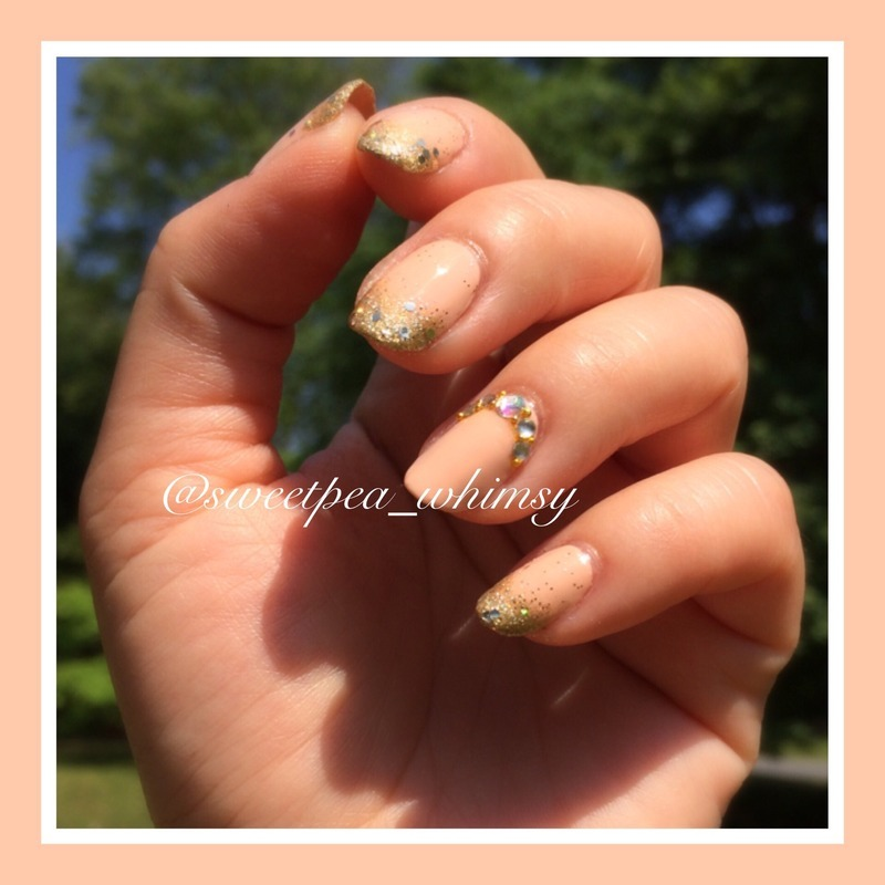 Peachy Pink & Gold Glitter nail art by SweetPea_Whimsy