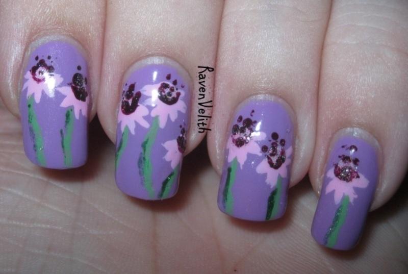 May Flowers nail art by Lynni V.