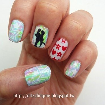 Starry Love  nail art by D4zzling Me