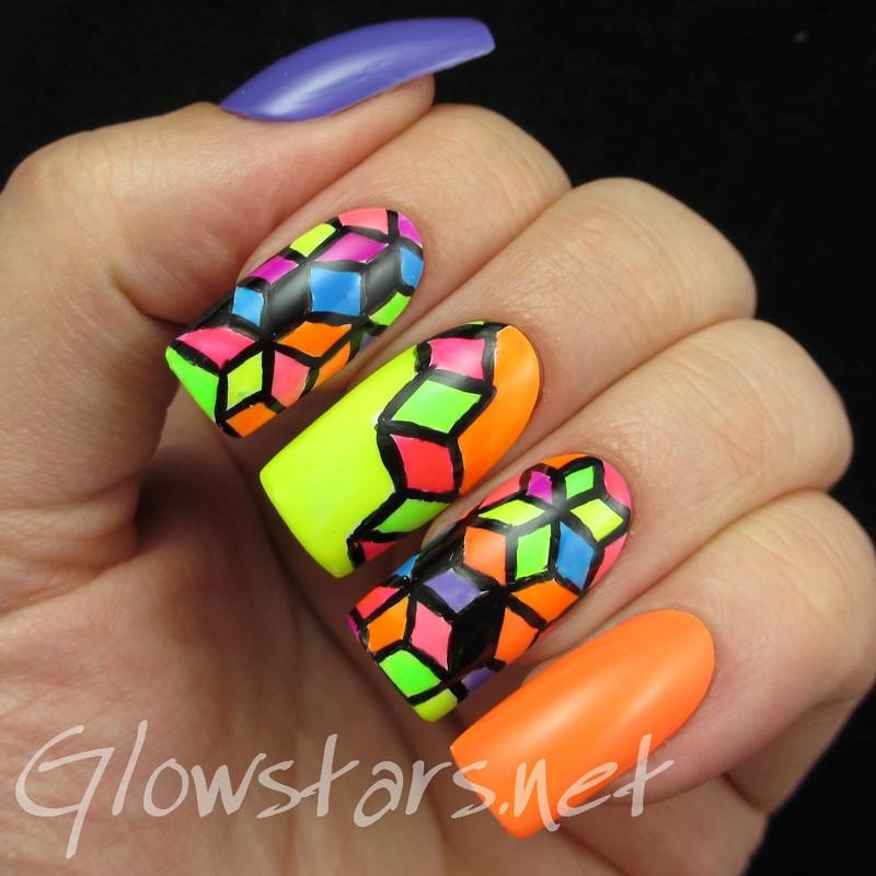 The Digit-al Dozen does geometric: brights nail art by Vic 'Glowstars' Pires