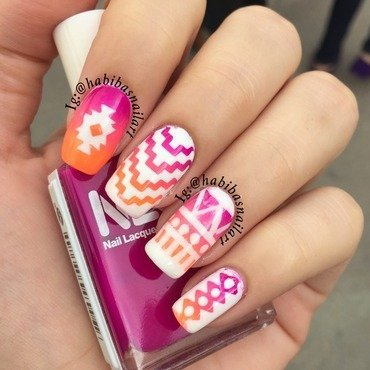 Neon tribal nail art nail art by Habiba  El-kallas
