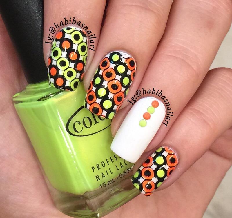 Neon circles nail art by Habiba  El-kallas