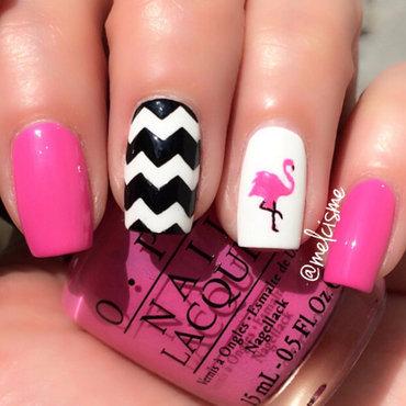 Flamingo nail art by Melissa