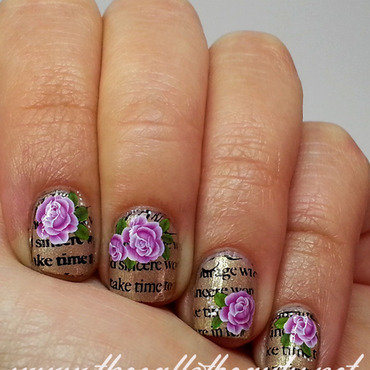 Words and Flowers nail art by The Call of Beauty
