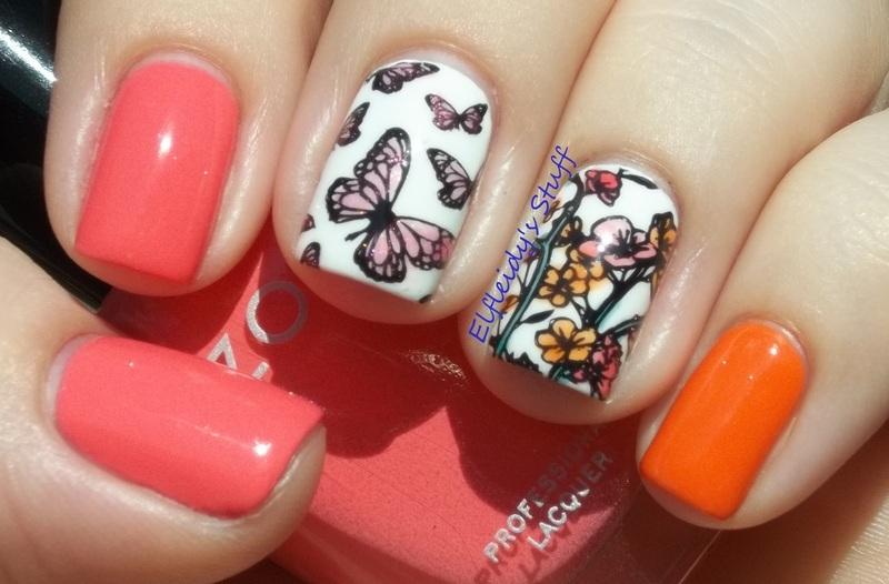 Leadlight butterflies nail art by Jenette Maitland-Tomblin