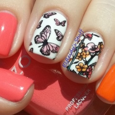 Leadlight butterflies nail art by Jenette Maitland-Tomblin